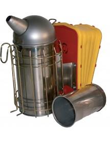 Affumicatore INOX Ø cm.10 con protezione con mantice QI M34 con contenitore cilindrico per apidou