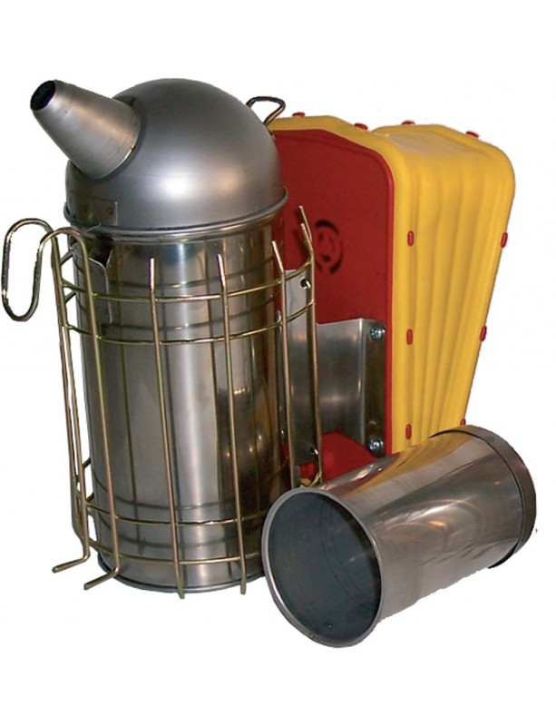 Stainless steel smoker for beekeeping diameter cm 10 with protection with QI M34 bellows with cylindrical container for pellet
