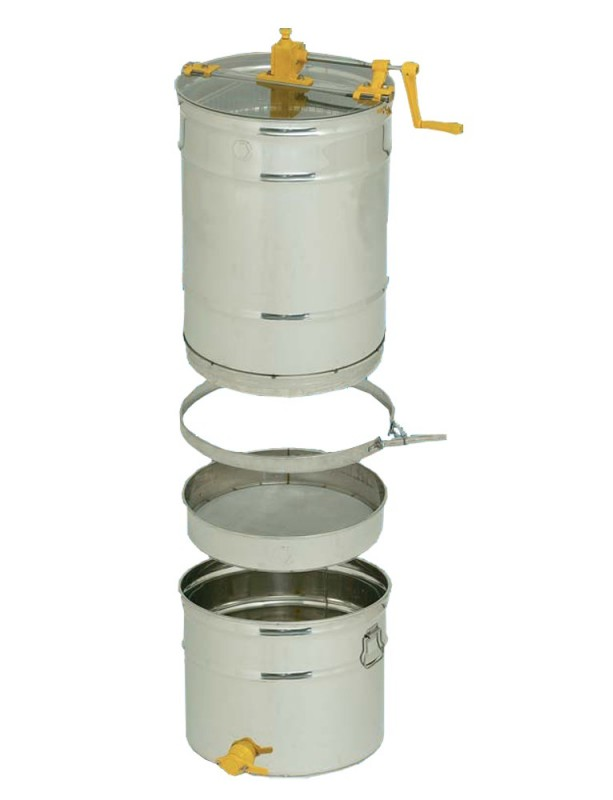 SMELATORE TANGENZIALE MANUALE D.B kit per 4 favi da melario o 2 da nido con cestello inox Ø 370