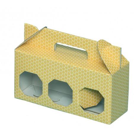 SCATOLA per 3 vasi miele da 500 g (giallo)