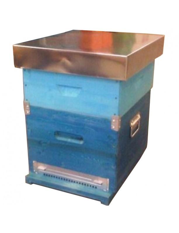 RUCHE BOX D.B. 10 CADRES avec fond anti-varroas FIXE et hausse - avec cadres filès