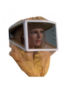 Careta para apicoltura cuadrada en red y tul para usar con casco