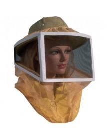 Careta para apicoltura cuadrada en red y tul con casco