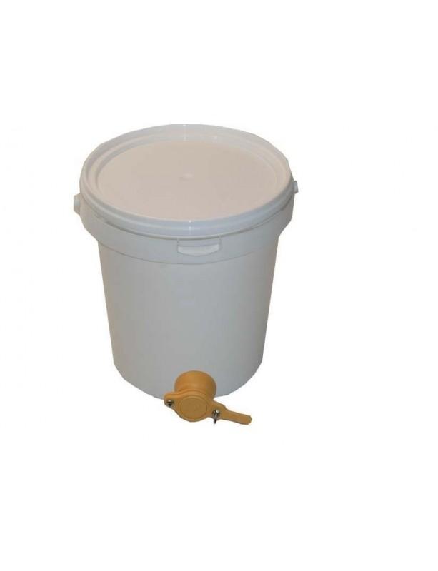 SECCHIELLO ROTONDO CONICO IN PLASTICA Per ALIMENTI - 19 L - 25 Kg MIELE Con RUBINETTO