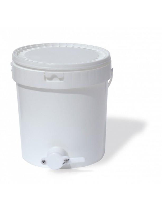 SECCHIELLO ROTONDO CONICO IN PLASTICA Per ALIMENTI - 32 L - 40 Kg MIELE con RUBINETTO