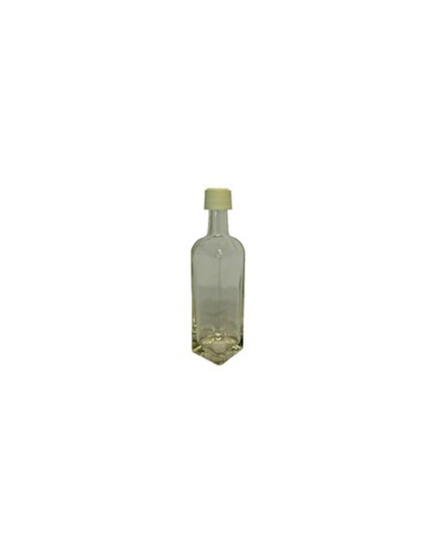 BOTTIGLIA  in VETRO BIANCO da 50 ml con TAPPO in PLASTICA