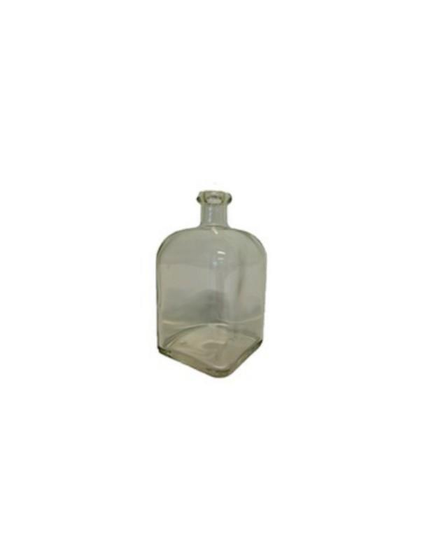 BOTTIGLIA  in VETRO BIANCO QUADRATA bassa da 250 ml e TAPPO in SUGHERO